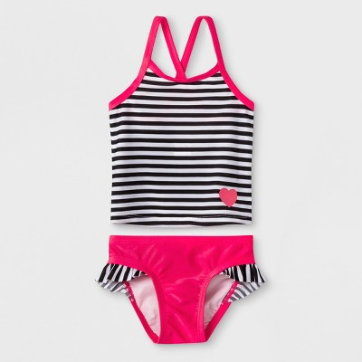 Baby Girls' Stripe Tankini with Ruffle Briefs - Cat & Jack™ Pink 12M