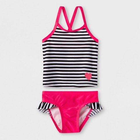 9253878aa2 Baby Girls' Stripe Tankini With Ruffle Briefs - Cat & Jack™ Pink ...