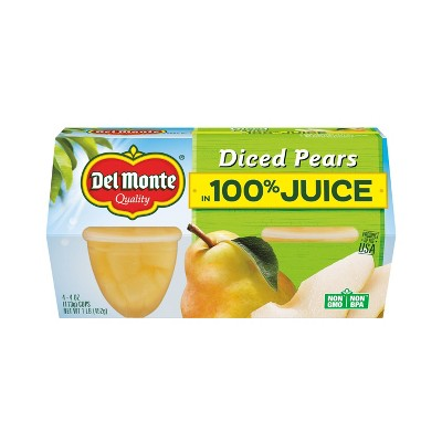Del Monte Diced Pears In 100% Juice Fruit Cups 4pk - 4oz