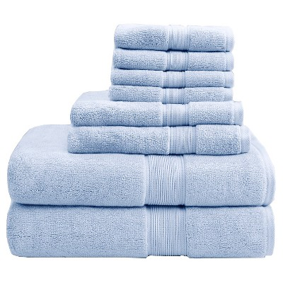 8pc Bath Towel Set Light Blue