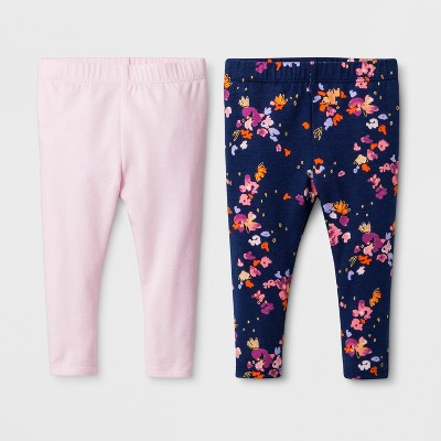 Baby Girls' 2pk Leggings Set - Cat & Jack™ Basic/Woodrose 0-3M