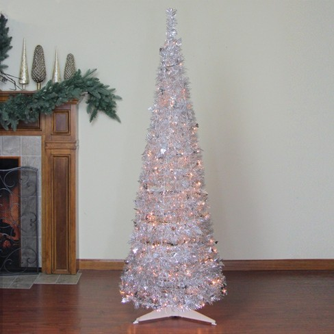Northlight 6 Prelit Artificial Christmas Tree Silver Tinsel Pop Up Clear Lights