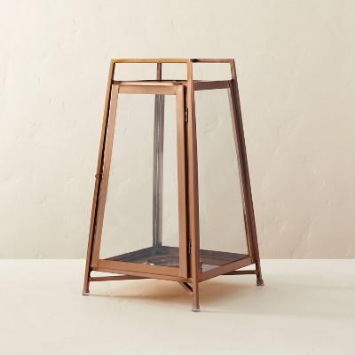 Medium Raised Metal & Glass Pillar Candle Lantern Copper - Hearth & Hand™ with Magnolia