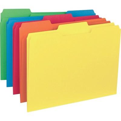 Business Source 100ct 1/3 Cut Colored Interior File Folders
