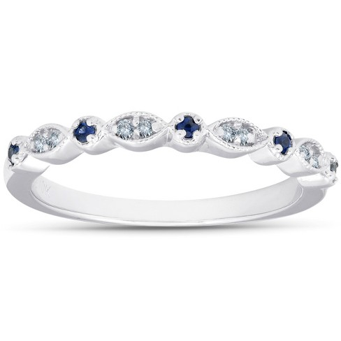 Pompeii3 1/5 ct Blue Sapphire & Diamond Wedding Ring Stackable Band 10k White Gold - image 1 of 4