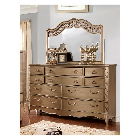 Iohomes Celentano Traditional Antique Dresser And Mirror Set Gold Homes Inside Out Target