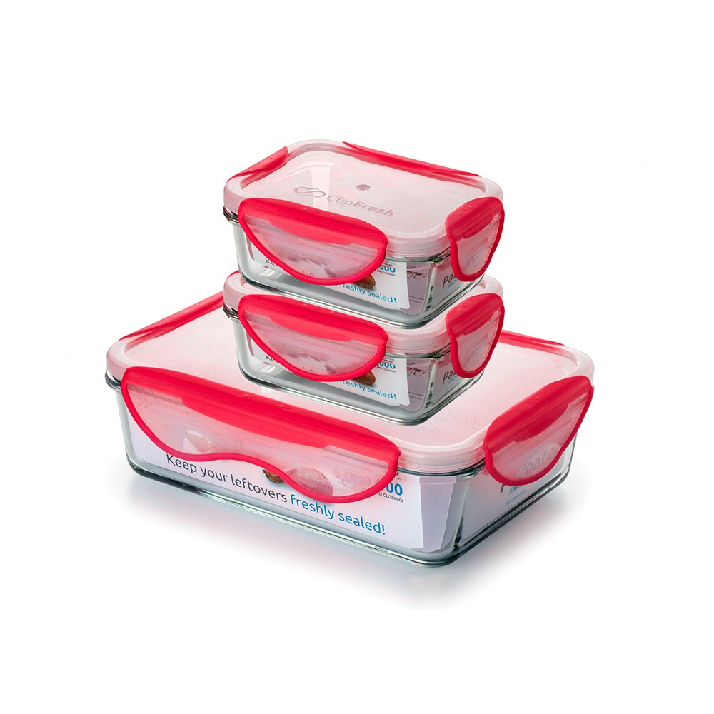 Image of ClipFresh Set of 3 Food Storage Container Red