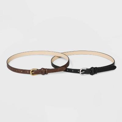 Women's Wrapped Keeper Belt 2pk - Universal Thread™ Black/Brown
