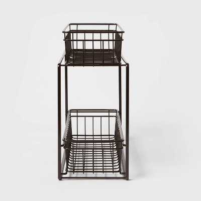 2 Tier Slide Out Storage Rack Slim Bronze - Threshold™