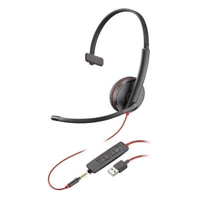 Plantronics Blackwire 3215 USB-A Corded / Wired Computer Headset, Single Ear Headset (Monaural), Black - Plantronics a Poly Company