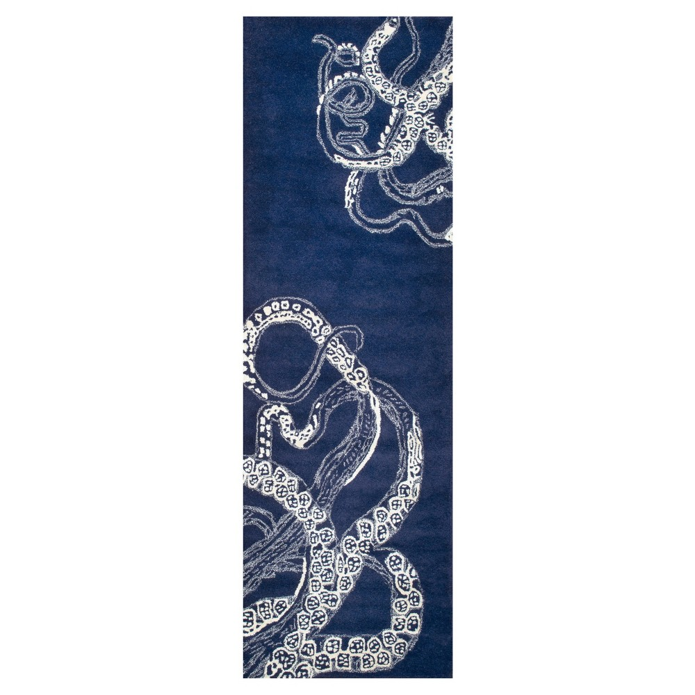 "Image of ""2'6""""x8' Tufted Solid Runner Rug Navy - nuLOOM"""
