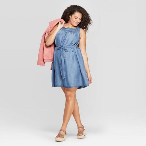 Women\'s Plus Size Sleeveless Square Neck Belted Denim Dress ...