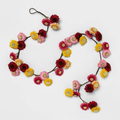 "72"" x 2.7"" Artificial Daisy Flower Garland Pink/Yellow/Red - Opalhouse™"