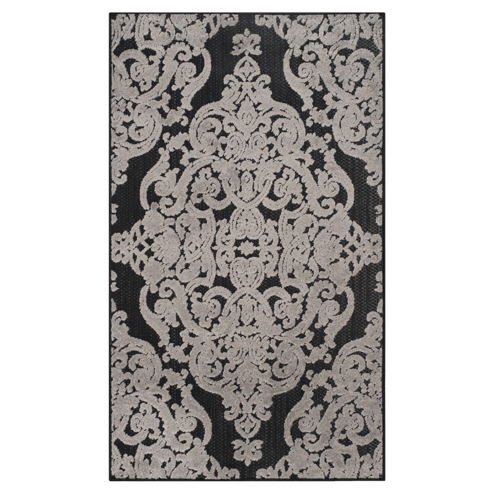Black Lace Loomed Accent Rug 3'3
