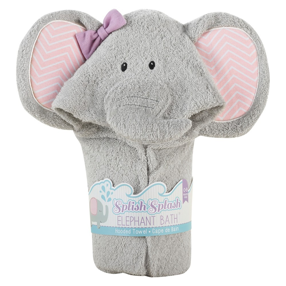 Image of Baby Aspen Splish Splash Elephant Bath Hooded Spa Towel, Gray