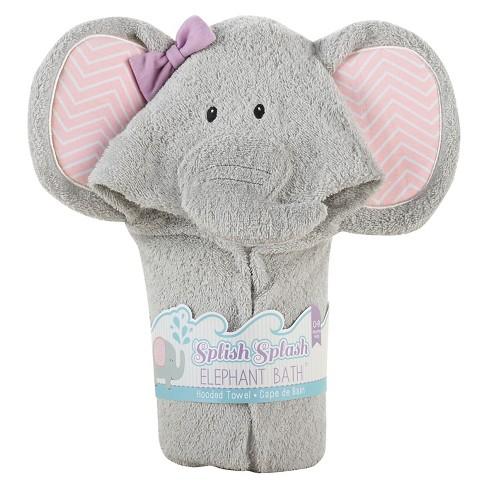 Baby Aspen Splish Splash Elephant Bath Hooded Spa Towel - image 1 of 2
