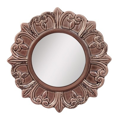 Round Decorative Wall Mirror Deep Taupe - CKK Home Decor
