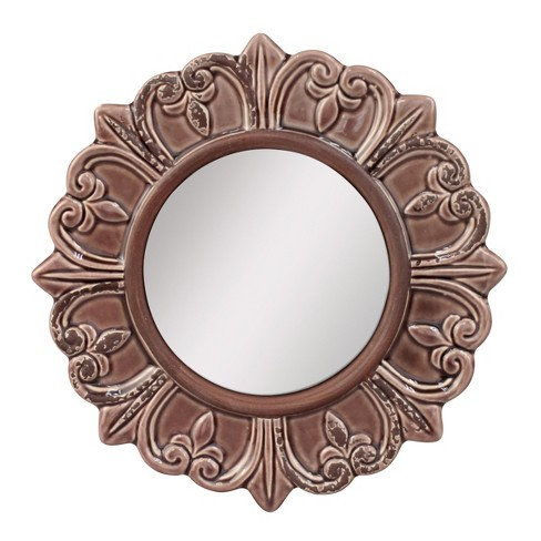 Round Decorative Wall Mirror Deep Taupe - CKK Home Decor - image 1 of 4
