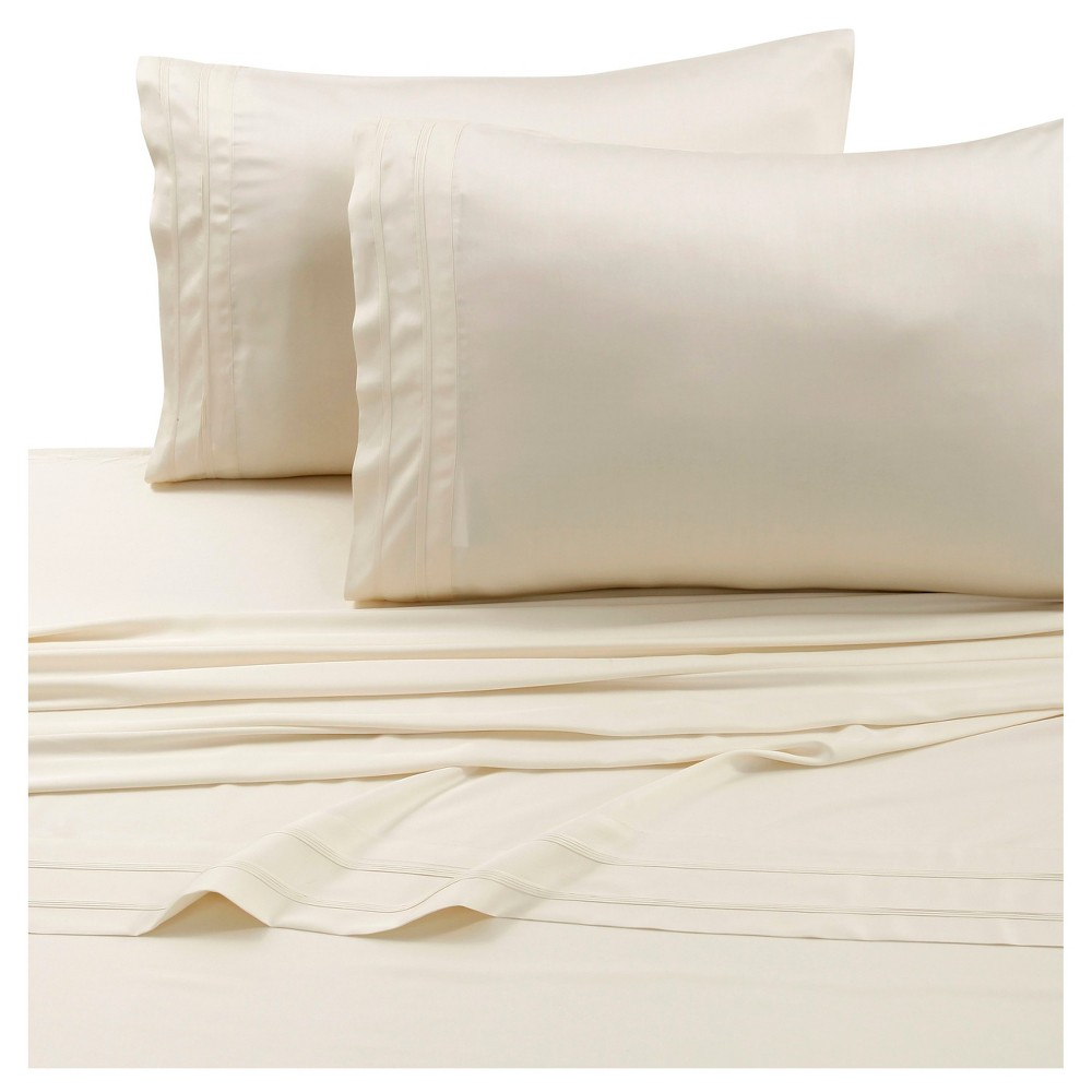 Rayon from Bamboo Deep Pocket Solid Sheet Set (King) Ivory 300 Thread Count - Tribeca Living