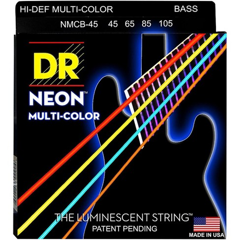 DR Strings Hi-Def NEON Multi-Color Coated Medium 4-String Bass Strings - image 1 of 1