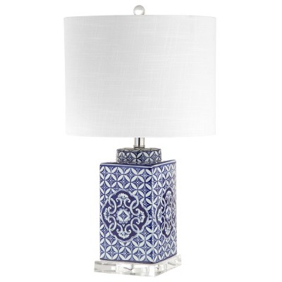 23  Choi Chinoiserie LED Table Lamp Blue (Includes Energy Efficient Light Bulb)- JONATHAN Y