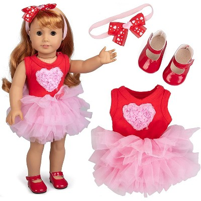Dress Along Dolly Pink Heart Outfit for American Girl Doll