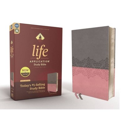 Niv, Life Application Study Bible, Third Edition, Leathersoft, Gray/Pink, Red Letter Edition - by  Zondervan (Leather Bound)
