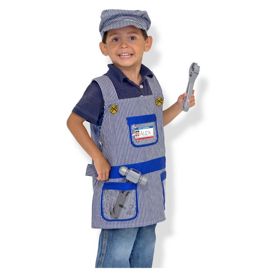 Melissa & Doug Train Engineer Role Play Costume Dress-Up Set (7pc), Adult Unisex, Size: One Size, Gold image number null