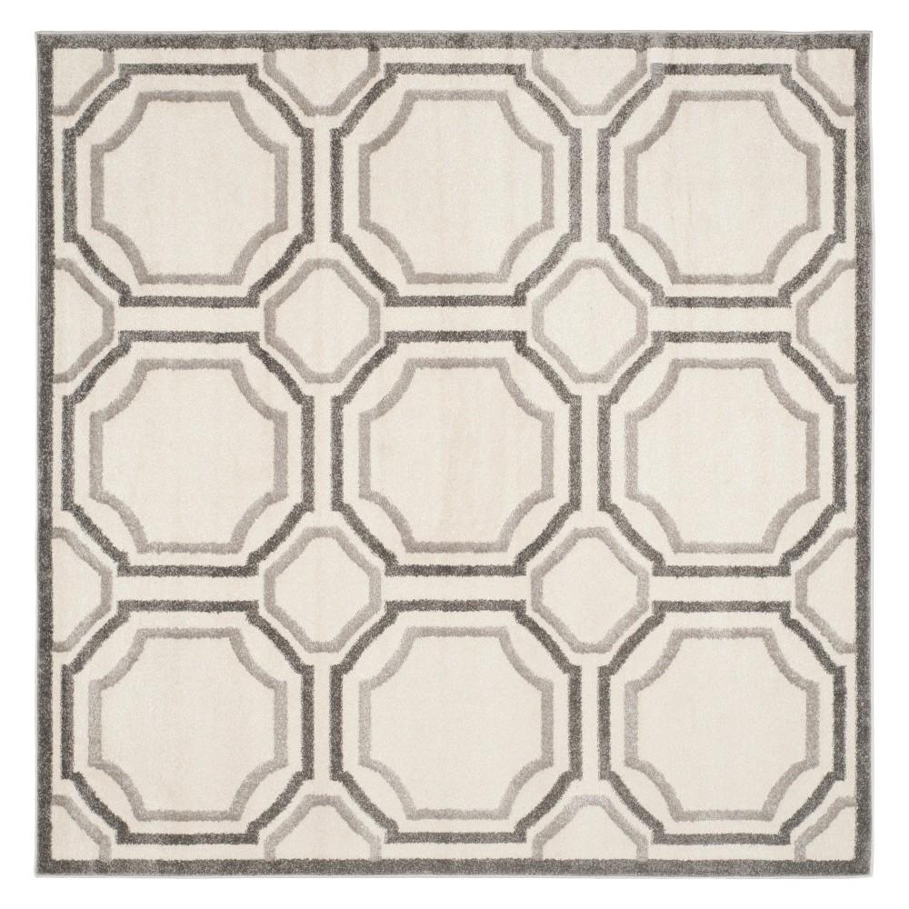 Ivory/Light Gray Geometric Loomed Square Area Rug 7'X7' - Safavieh