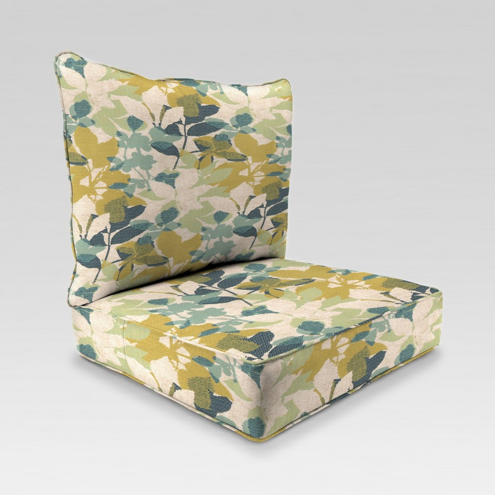 Image of 2pc Deep Seat Chair Cushion - Beige Floral - Jordan Manufacturing