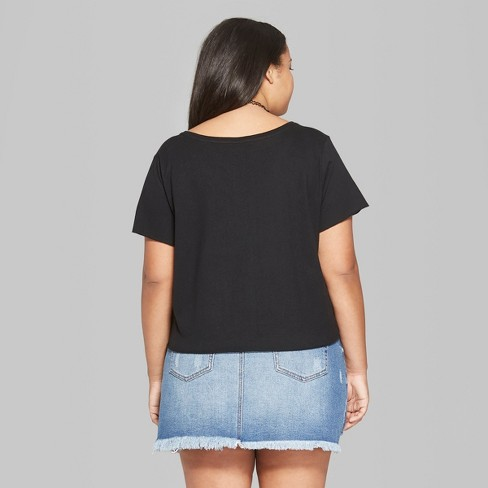 f762176d53ac6 Women s Plus Size Cropped Short Sleeve V-Neck Boxy T-Shirt - Wild Fable™  Black 3X   Target