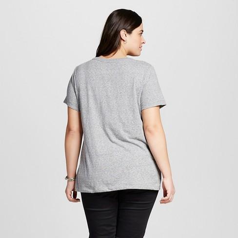 1a7d631bd28 Women s Plus Size Crew Neck T-Shirt - Ava   Viv™ Flat Gray 1X   Target