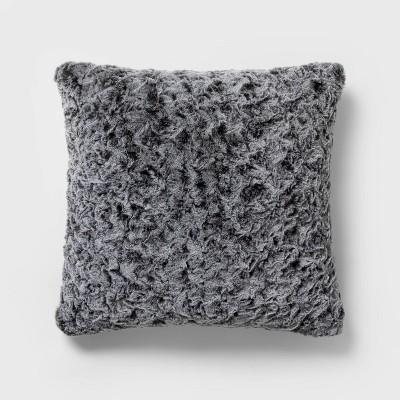 Euro Textured Faux Fur Decorative Throw Pillow Gray - Threshold™