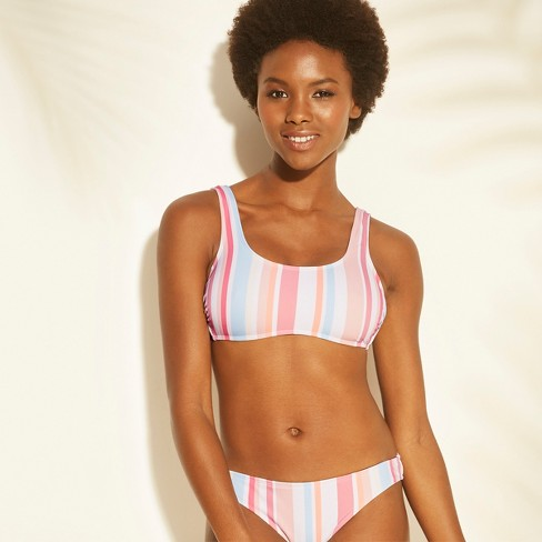 b2425ce2175a Women's Scoop Neck Bralette Bikini Top - Xhilaration™ Multi Stripe : Target