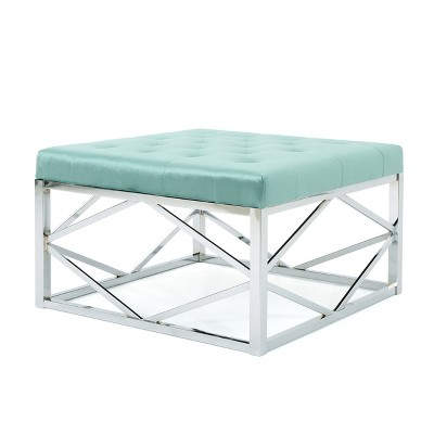 Talia Tufted Ottoman With Silver Frame