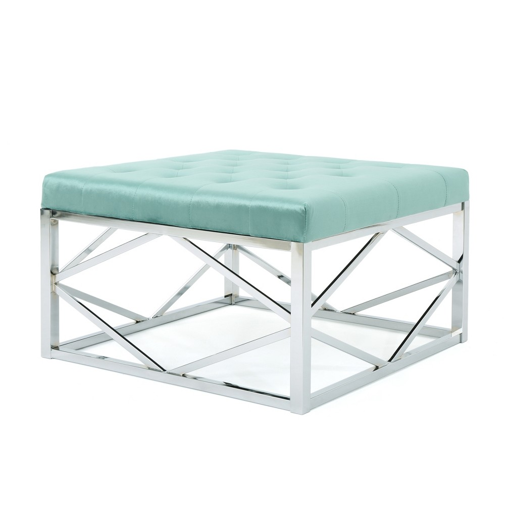 Talia Tufted Ottoman with Silver Frame Turquoise/Silver - Christopher Knight Home