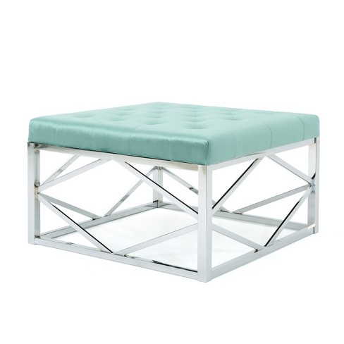 Talia Tufted Ottoman With Silver Frame Turquoise Christopher Knight Home