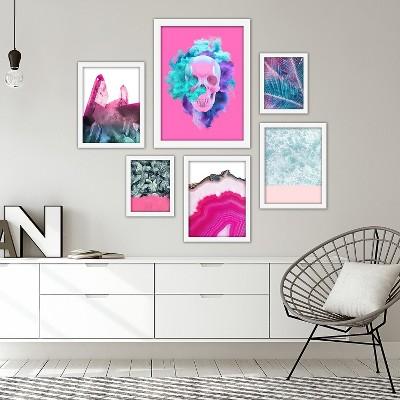 Americanflat Pink & Cyan Mixed-Media Modern 6 Piece White Framed Art Set by Emanuela Carratoni