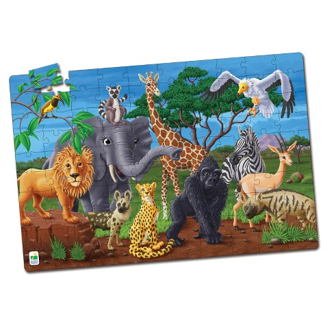 The Learning Journey Puzzle Doubles, 100pc - Glow In The Dark - Wildlife - image 1 of 2