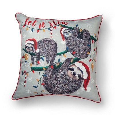 """20""""x20"""" Oversize 'Let It Slow' Sloth Square Throw Pillow Gray - Sure Fit"""
