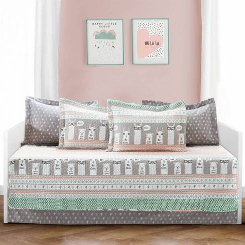 """6pc 39""""x75"""" Llama Striped Daybed Pink/Turquoise - Lush Decor - image 1 of 4"""