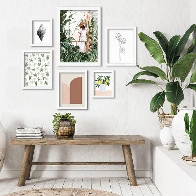 Americanflat Green Florals & Botanical Morocco by Sabina Fenn 6 Piece Framed Gallery Wall Art Set