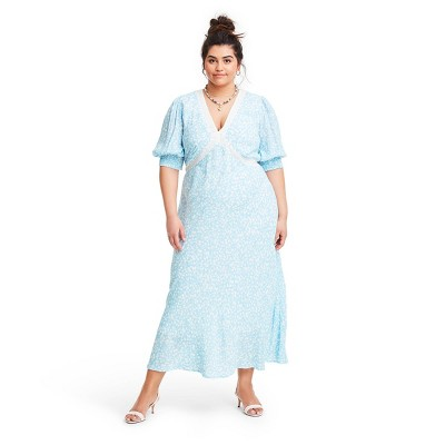 Floral Puff Sleeve Lace Inset Swing Dress - RIXO for Target Blue