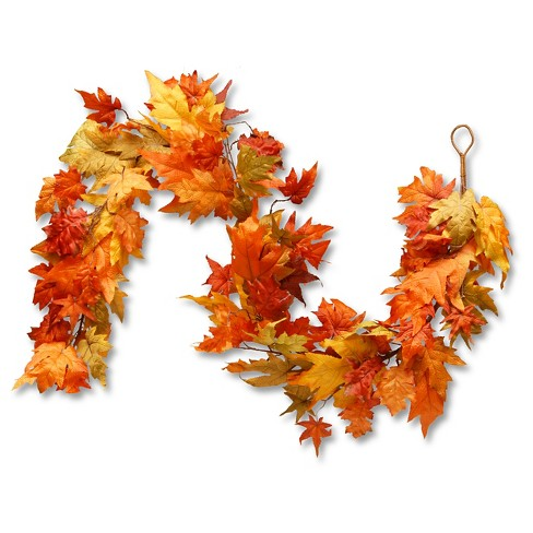 "National Tree Company Garland with Maple Leaves and Pumpkins Red/Orange (72"") - image 1 of 1"