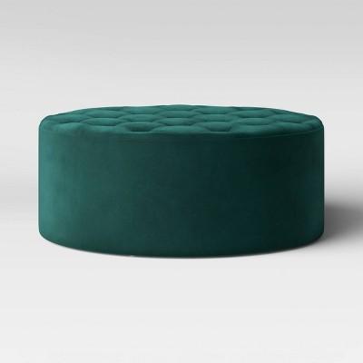 Rambleton Round Tufted Velvet Cocktail Ottoman Green - Threshold™