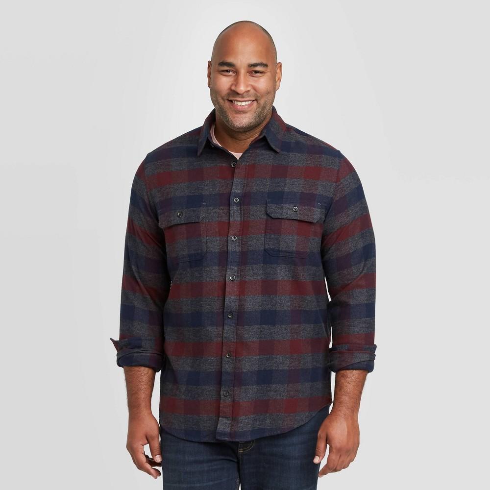 Top Men's Tall Standard Fit 2-Pocket Flannel Long Sleeve Button-Down Shirt - Goodfellow & Co™