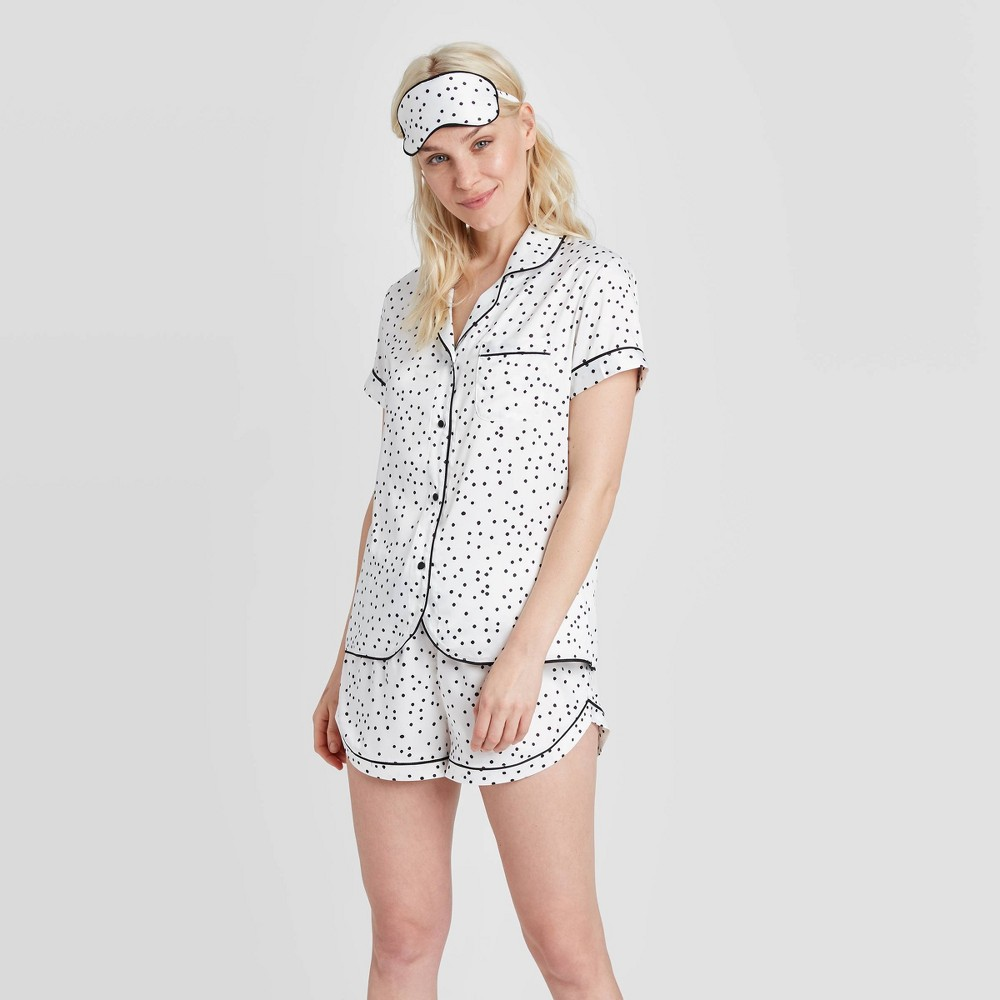 Image of Women's 3 Piece Polka Dot Satin Notch Collar Pajama Set - Stars Above White L, Women's, Size: Large