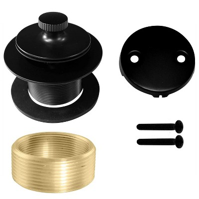 Westbrass 1.5 Inch Diameter Round Twist & Close Drain Bathtub Trim Set with 2-Hole Faceplate, Matte Black