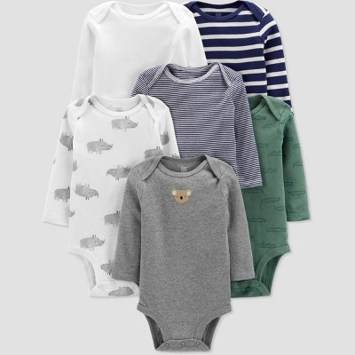 Baby Boys' 6pk Striped and Animal Print Bodysuit - Just One You® made by carter's Green/White/Blue 3M