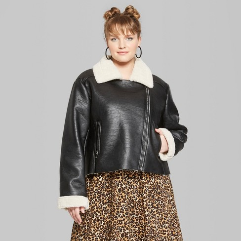 Women S Plus Size Sherpa Lined Faux Leather Moto Jacket Wild Fable